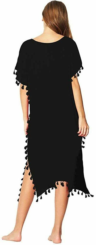GDKEY Women Chiffon Tassel Beach Cover Up Long Small