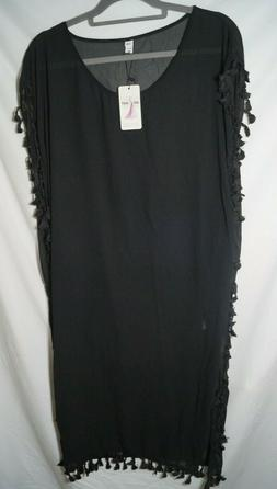 women chiffon tassel beach cover up black